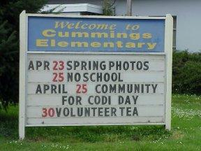 Codi's Life: Community for Codi Day April 25, 2003 - Sign at Cummings Elementary School.
