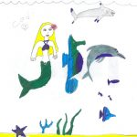 "Artwork by Codi: ""Ocean with mermaid and other sea life"""
