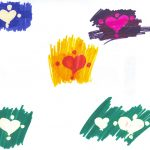 "Artwork by Codi: ""hearts on colored backgrounds"""