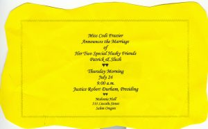 Wedding invitation for Patrick and Slush - The marriage to be performed at the Oregon Governor's Mansion.